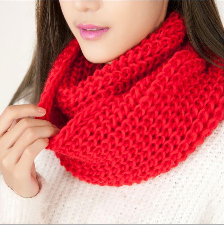 新款韩版流行纯色保暖毛线围巾围脖套头 淘宝夜市速卖通货源批发