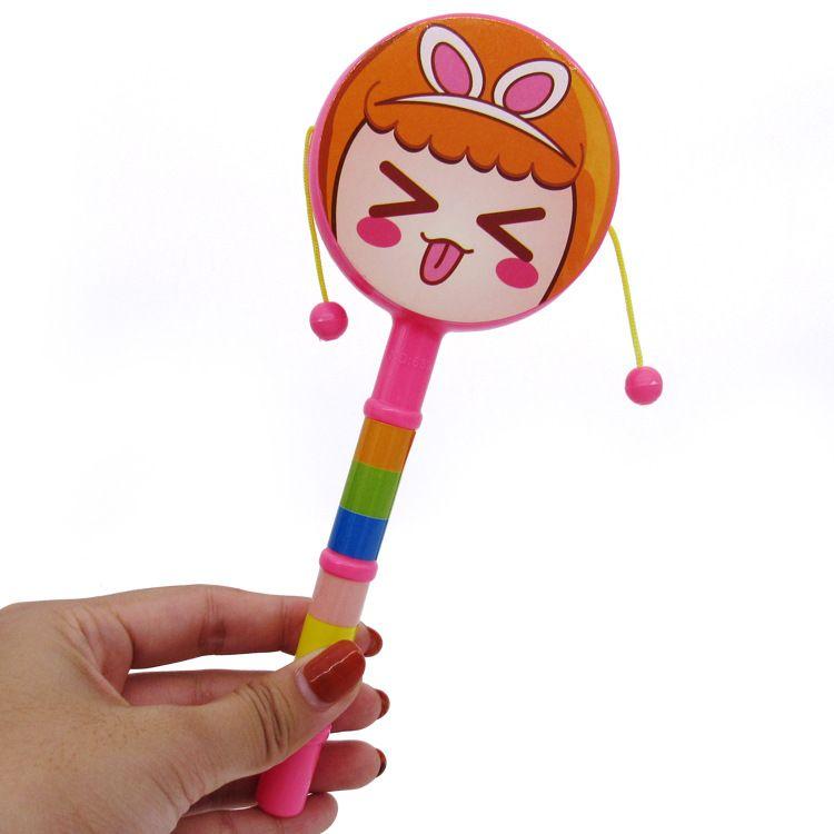 20555婴幼儿玩具卡通笑脸拨浪鼓双面波浪鼓手摇鼓塑胶玩具0.07