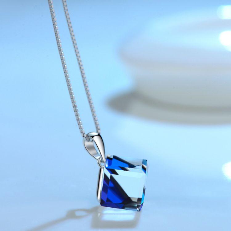 施尚S925银方形魔方水晶项链锁骨链韩版欧美流行首饰批发一件代发