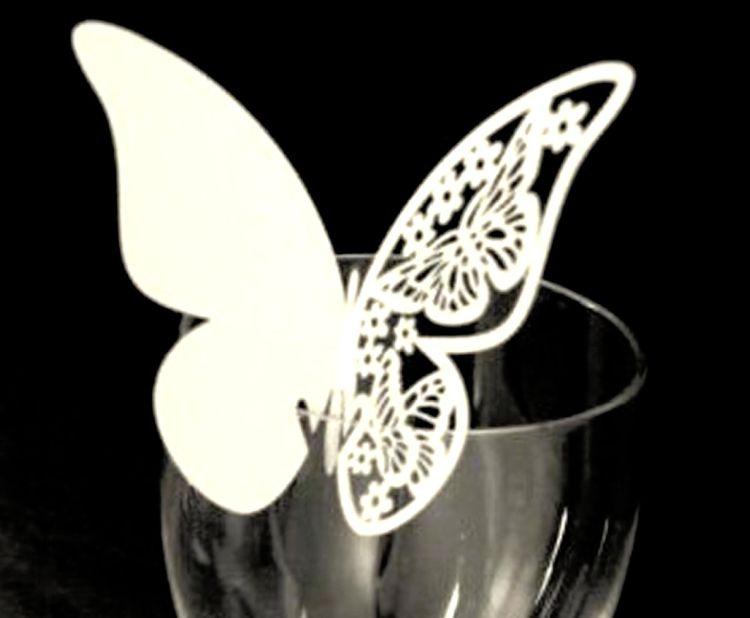 漂亮爱心激光席位卡 心形镂空杯卡 蝴蝶白色卡片 婚庆姓名纸插卡