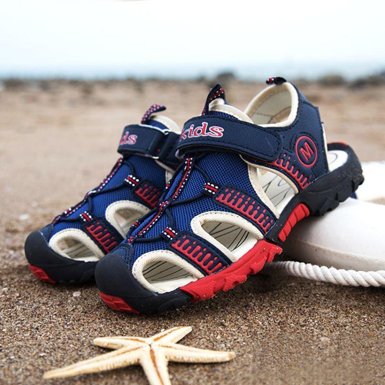 新款儿童休闲沙滩鞋男女批发夏季时尚魔术贴凉鞋26-39码潮流童鞋