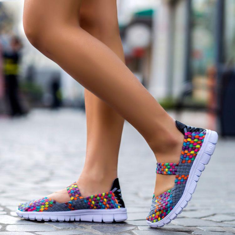 2018大码女鞋子透气松紧带手工编织鞋女士平底舞蹈鞋厂家加工定制