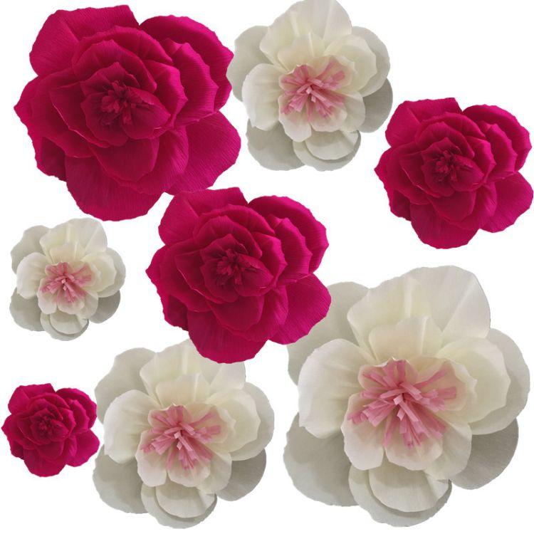 古香 皱纹纸花 装饰搭配仿真纸花 装饰皱花花心