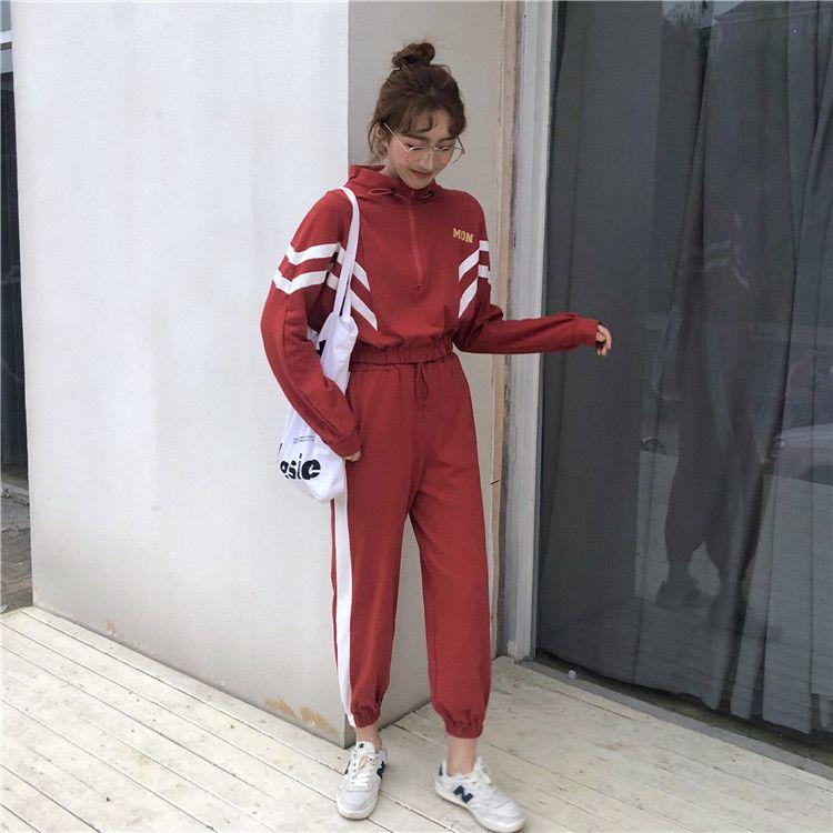 加绒250克 运动套装女长袖外套高腰束脚哈伦裤休闲裤两件套