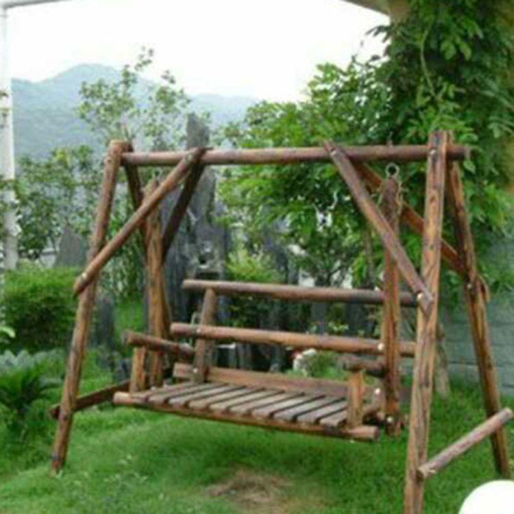 户外木秋千摇摇椅吊椅碳化防腐木室外阳台花园实木家用吊篮摇篮椅
