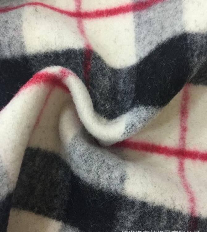 厂商供应 秋冬新品英伦风田字格单面绒粗纺 休闲时尚外套大衣面料