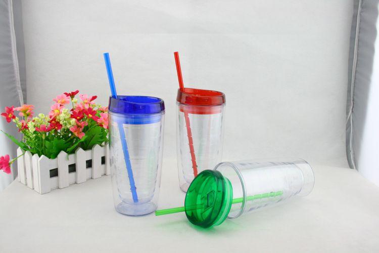 厂家直销螺纹杯 吸管杯 随手杯 创意水杯 塑料杯