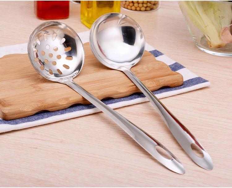 不锈钢加厚汤勺子 火锅勺 火锅汤勺 漏勺 长柄勺子 6cm7cm8cm长
