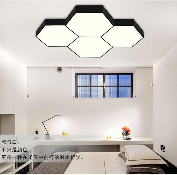 led拼接六边形吊灯 办公室网咖健身房六角型走廊写字楼吸顶灯具