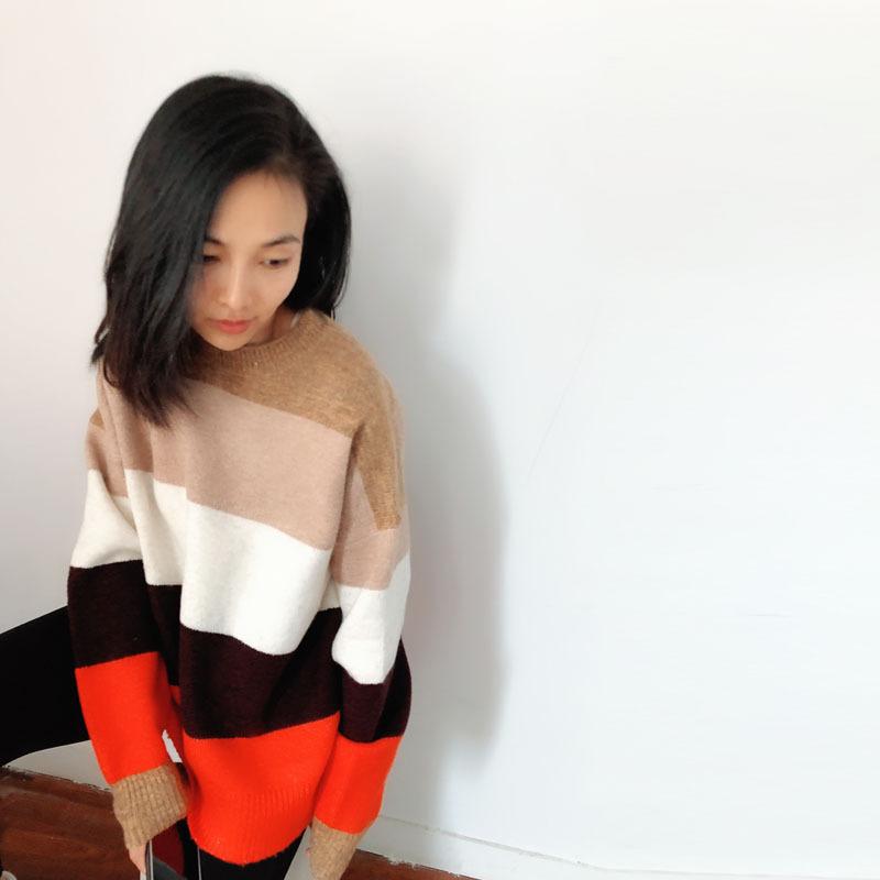 2018秋冬学院风撞色条纹羊毛衫女 加厚套头长袖针织卫衣女上衣
