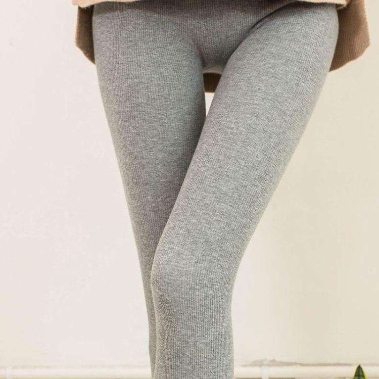 2017秋冬新款打底裤女裤袜条纹显瘦素色修身一体裤无缝爆款全棉