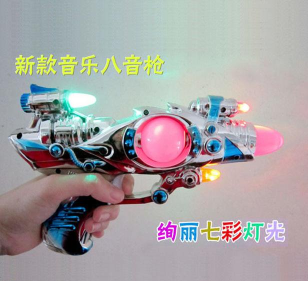 儿童玩具枪 宝宝七彩灯光电动八音枪 音乐发光电动枪发光枪包邮