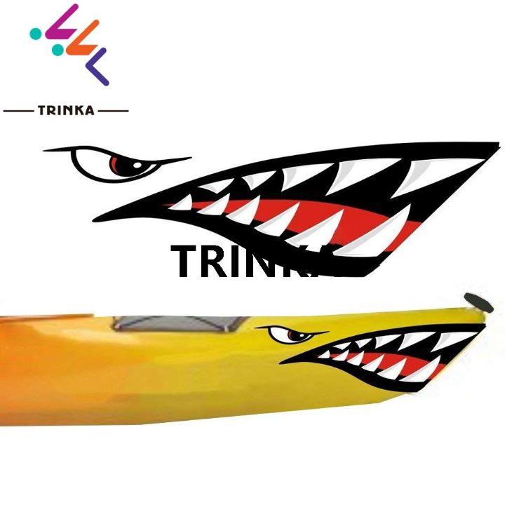 鲨鱼嘴牙齿的嘴皮艇新汽车 户外贴纸车身贴拉花 亚马逊爆款