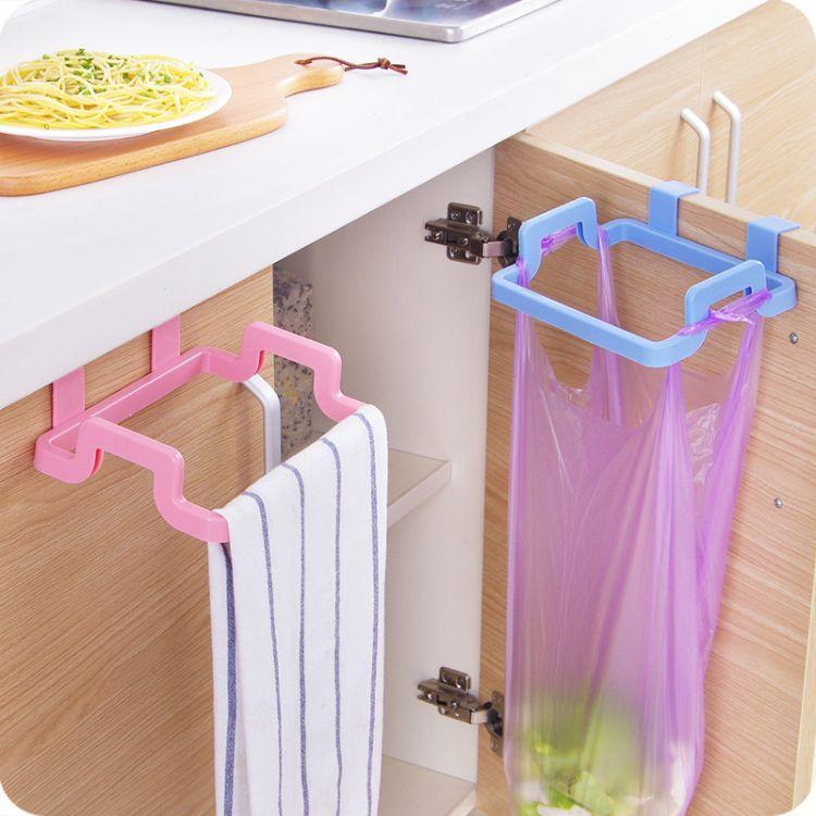 厨房门背式手提垃圾袋挂架 家用橱柜门 垃圾桶挂架