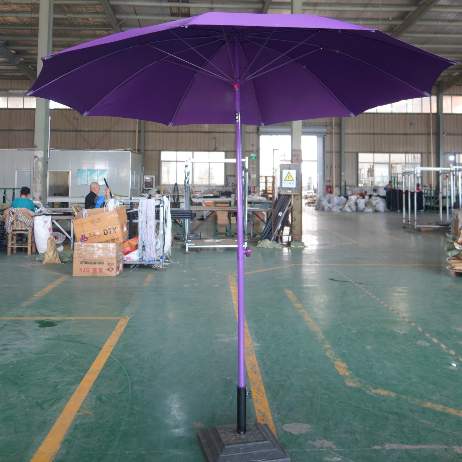 厂家定制新款配色彩色2米7玻纤全铝手推伞户外遮阳伞庭院太阳伞