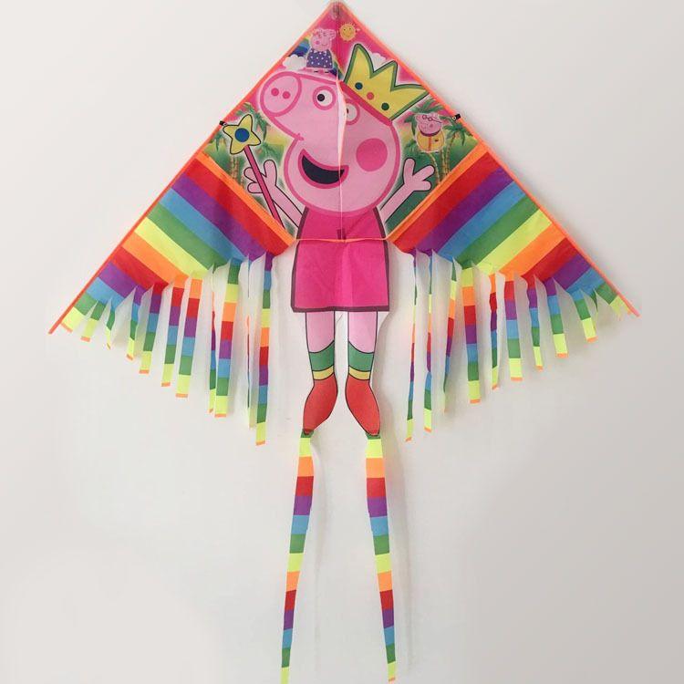 厂家直销潍坊风筝彩条大号带腿多尾卡通佩奇儿童风筝色彩鲜艳易飞