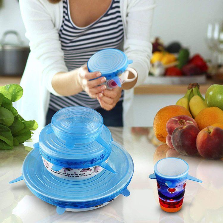 热销硅胶保鲜盖6件套 可拉伸保鲜膜水果食物透明密封盖食品级套