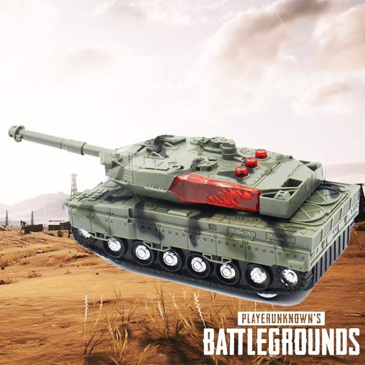 爆款电动四通遥控坦克车大小号闪光发光带音乐军事模型儿童玩具车