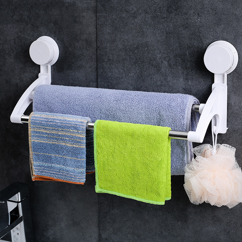 吸盘式卫生间置物架壁挂吸壁式 浴室浴巾架毛巾架毛巾杆免打孔