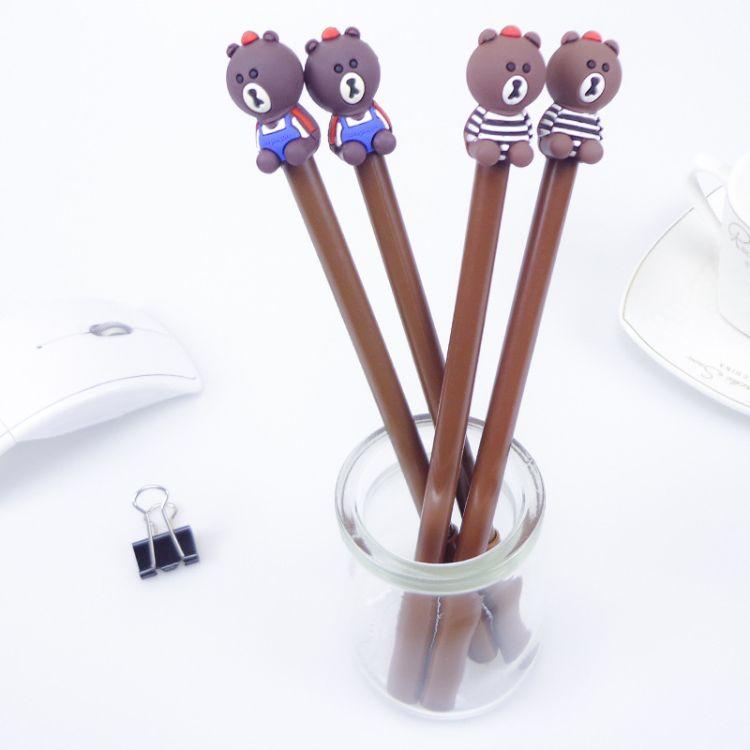 新品创意文具 可爱全身棕熊中性笔 两款卡通黑色小熊水笔 签字笔
