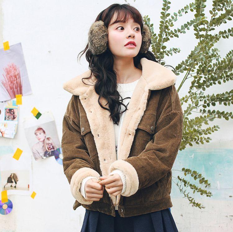 2018冬季新款韩版短款兔绒内里拼接灯芯绒外套女加厚保暖棉衣