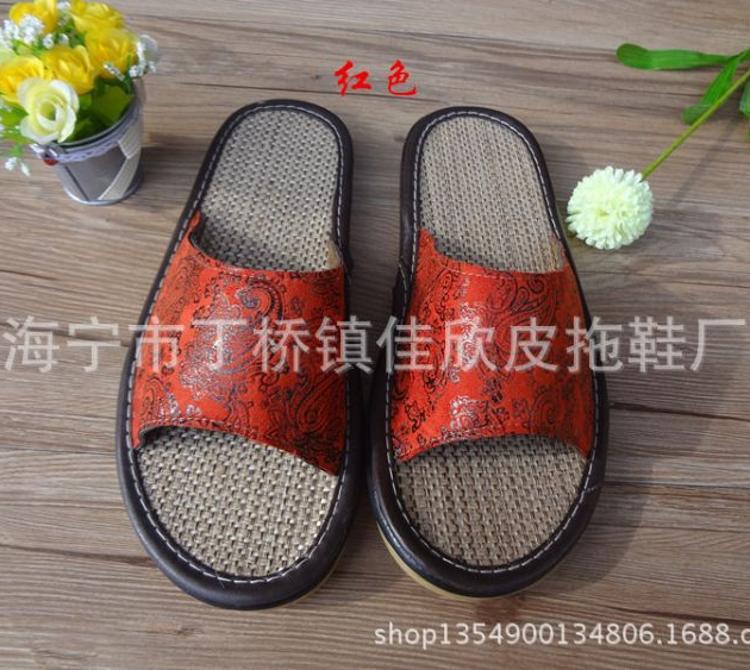 厂家批发海宁皮拖鞋鹿皮绒烫花天然麻加厚防滑牛筋底凉拖鞋