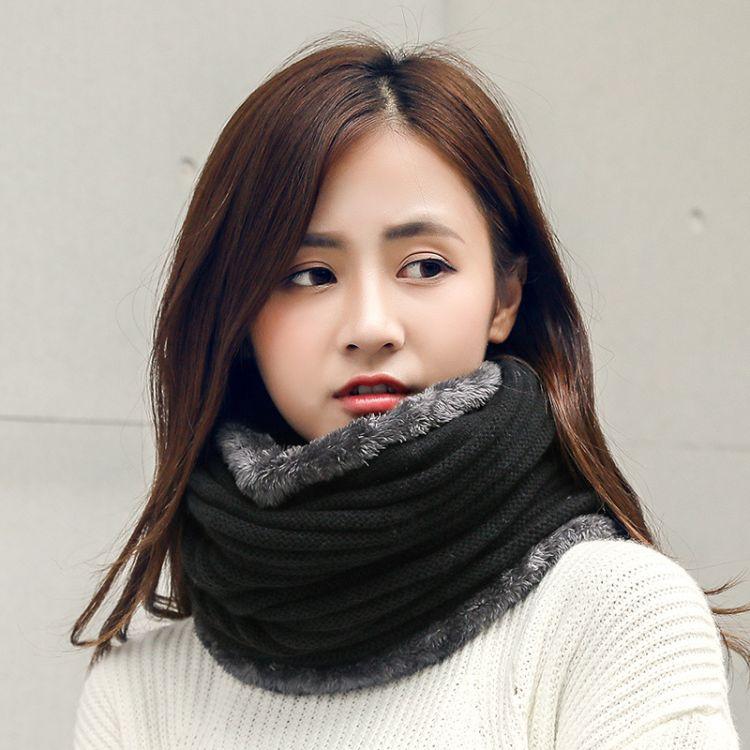 韩版秋冬季针织毛线加厚保暖围脖冬天女学生情侣围巾百搭潮脖套