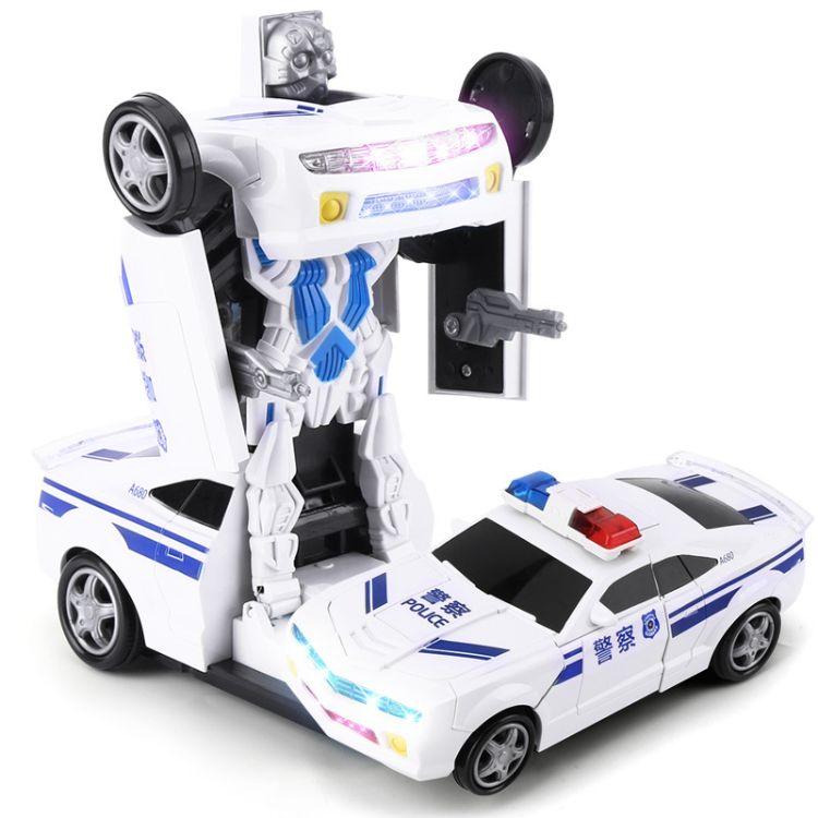 乐州儿童变形车玩具车模型一键自动变形灯光音乐电动万向机器人