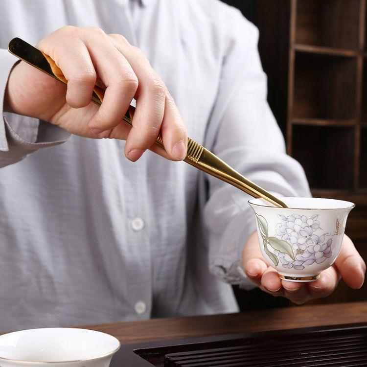 忠艺信 家用防滑不锈钢茶夹 茶叶夹子 茶镊子 洗茶杯的夹子 茶道功夫茶具配件