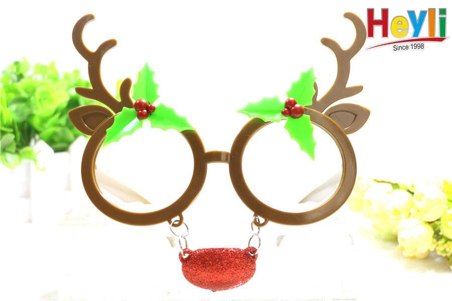 圣诞节可爱麋鹿立体派对眼镜 小鹿角麋鹿搞怪圣诞装饰品节日派对