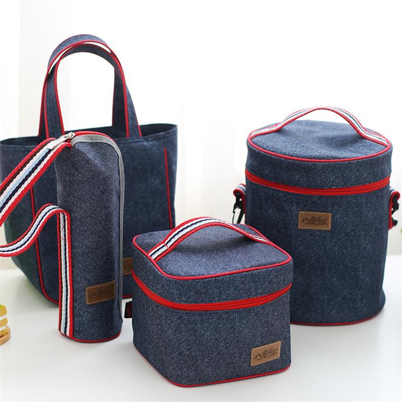 午餐饭盒袋铝箔保温手提袋防水便当包零食包布袋牛津布圆形带饭包