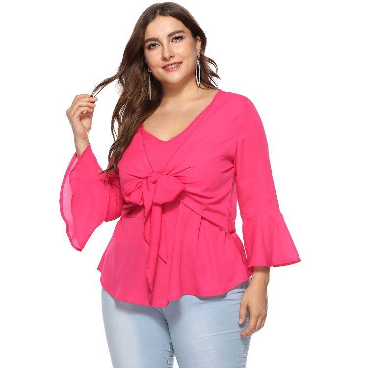 ebay亚马逊热销大码女装women tops 胖人mm遮肉喇叭长袖雪纺衫