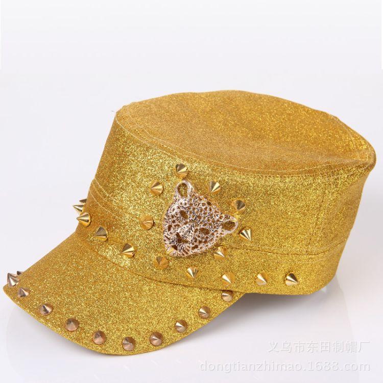 厂家直销时尚皮革铆钉棒球帽表演时装平顶帽配饰棒球帽表演帽子