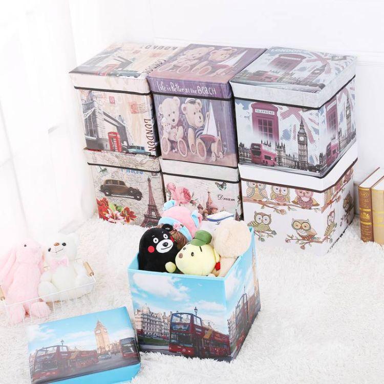复古玩具收纳凳厂家覆膜无纺布可折叠储物箱居家收纳衣物整理箱