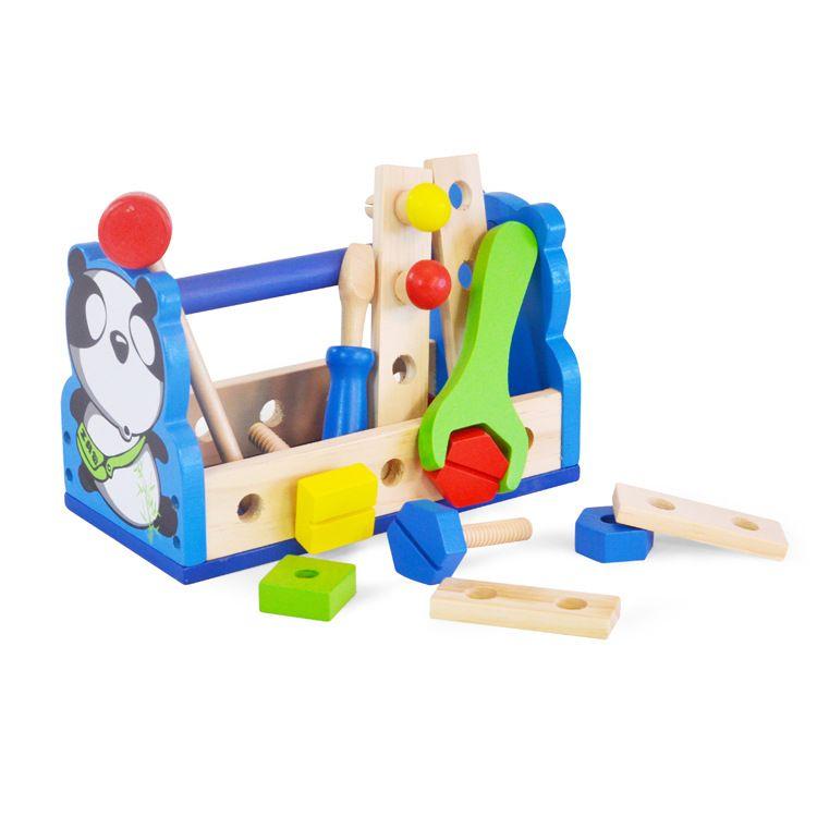 ACOOLTOY 3岁以上婴幼儿熊猫工具篮儿童益智螺母拼装拼搭木制玩具
