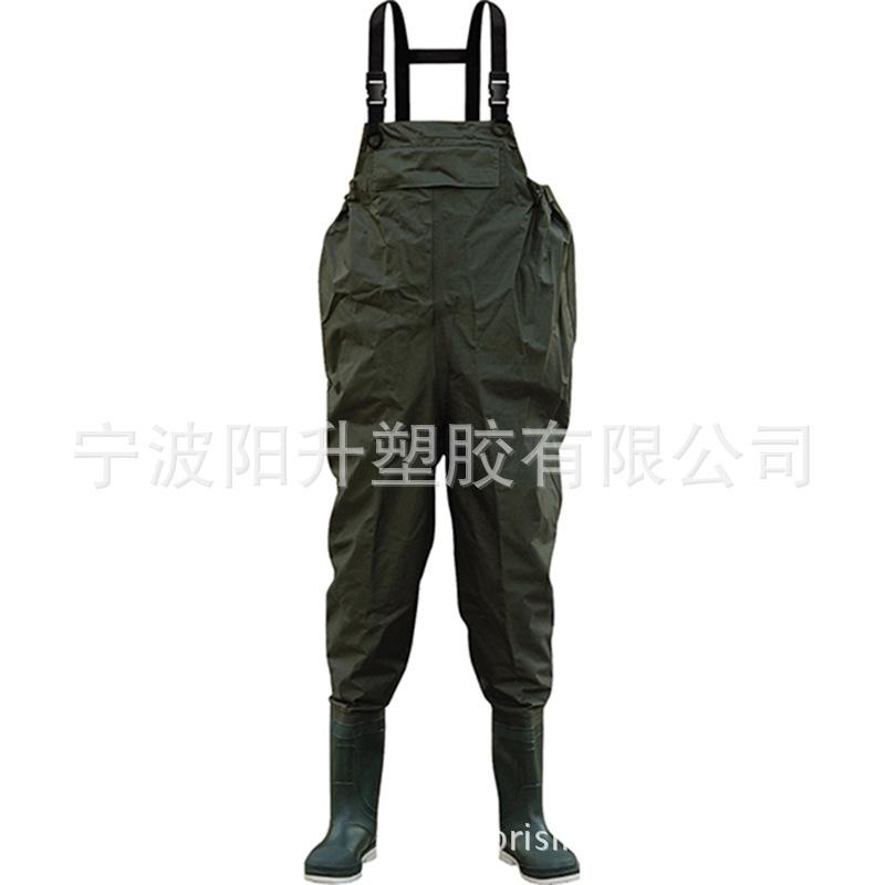 工厂直销涉水服70D*190T尼龙复合PVC钓鱼裤下水裤接PVC雨鞋连体服