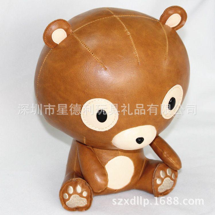 可爱PU皮小熊定制生产 厂家来图来样生产 布朗熊毛绒玩具