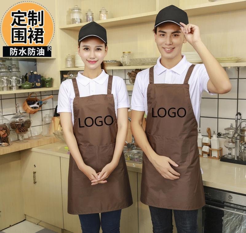 广告围裙定做 纯色挂肩促销围裙 棉布围裙现货批发定制 印刷logo