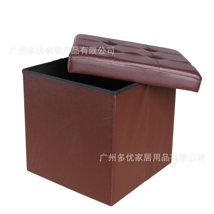 外单PU皮革折叠收纳凳/环保皮革收纳箱/换鞋储物箱/加长沙发凳