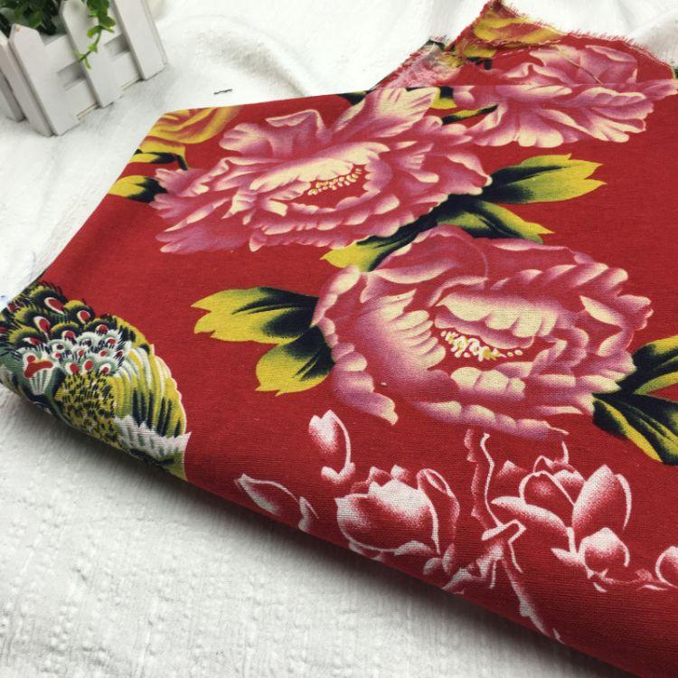 供应凤凰戏牡丹加厚平纹面料 亚棉麻花布旗袍面料厂家直销