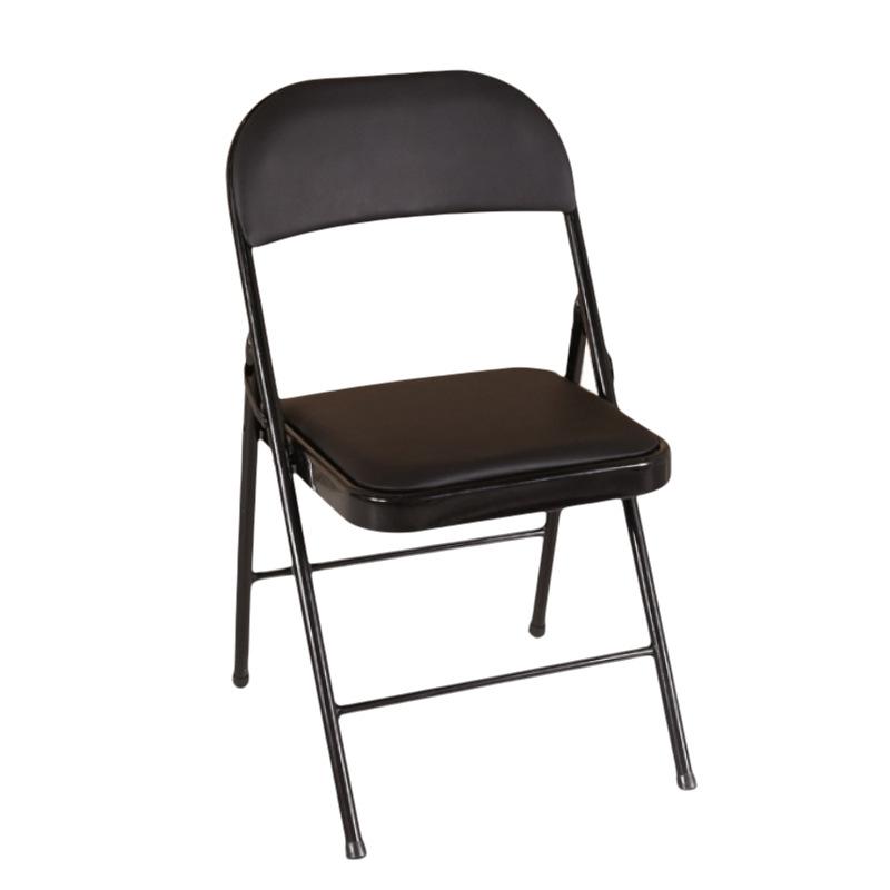 恒通创富办公家具厂家直销黑色简约办公折叠椅