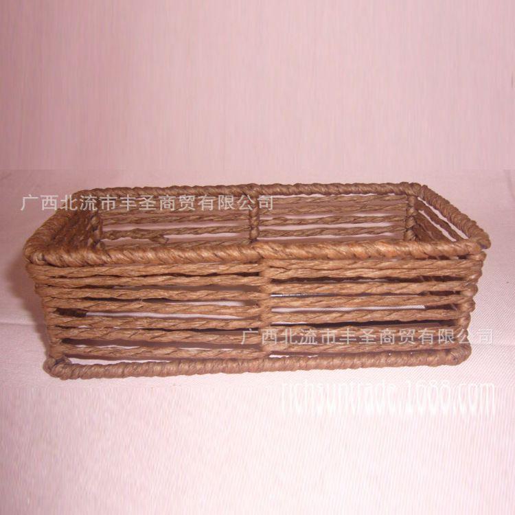 大量供应广西博白纸绳篮 化装品包装篮 植物工艺品