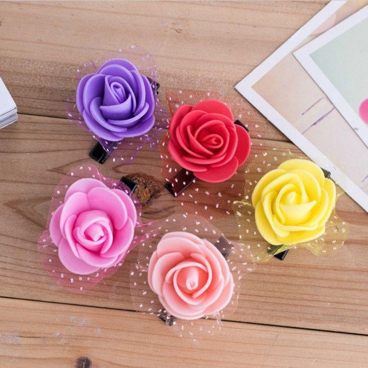 厂家批发新款玫瑰花发卡韩版儿童糖果色发夹七彩发卡淘宝小礼品