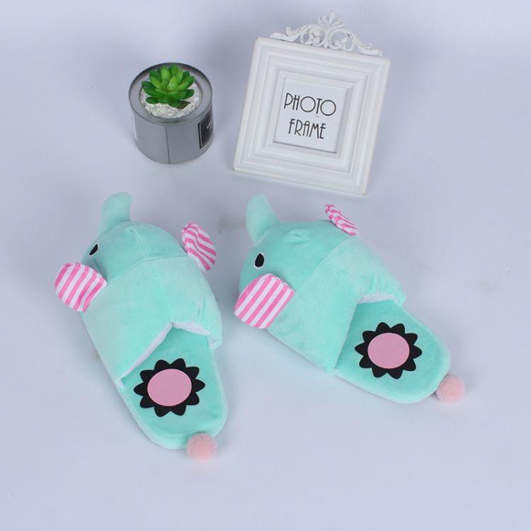 新款萌系薄荷绿大象家居地板棉拖鞋现货批发可爱毛绒小象棉拖鞋