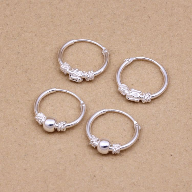 s925纯银耳扣 银耳圈 耳环 女饰品 直径12mm 欧美韩国流行