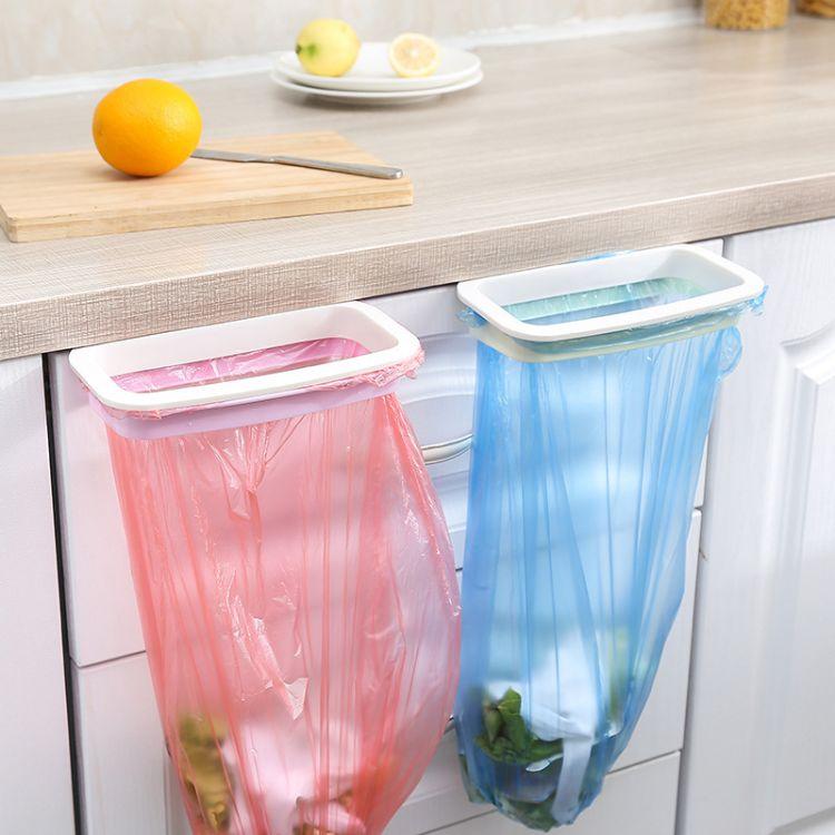 TY 可挂式厨房门背式橱柜垃圾袋支架 带防掉落扣垃圾袋收纳架