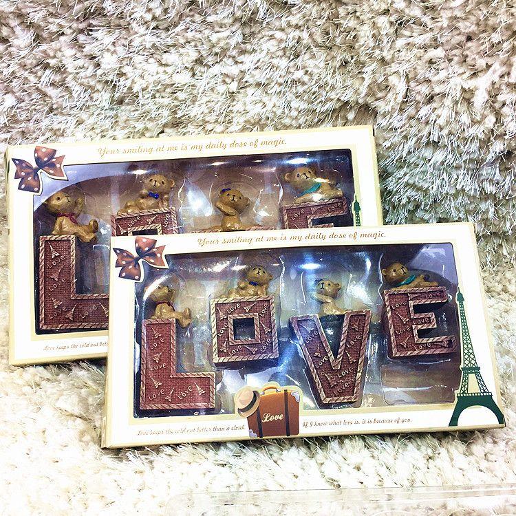工厂店直销 新款爆款创意树脂Love泰迪熊玩偶七夕情人节活动礼物