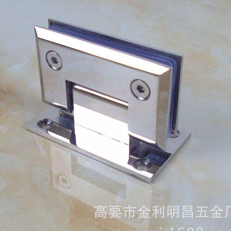 精铸304不锈钢浴室夹 无框门玻璃夹 淋浴房玻璃合页 铰链90度单边