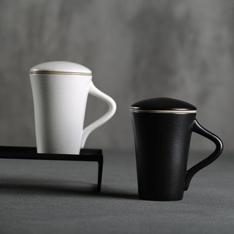 简约陶瓷马克杯过滤内胆茶杯办公会议带盖创意水杯情侣LOGO定制