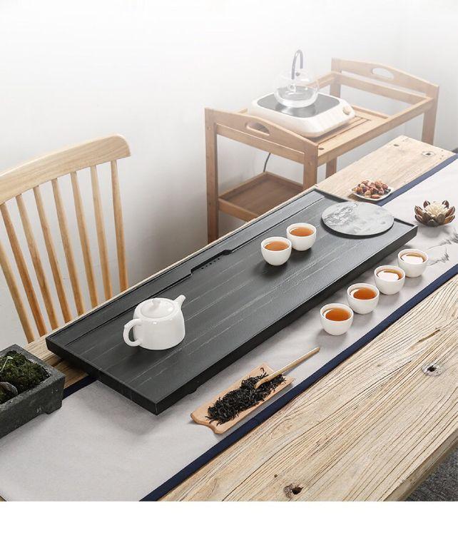 乌金石茶盘简约创意影雕中式天然皇庭玉整块石头排水家用办公